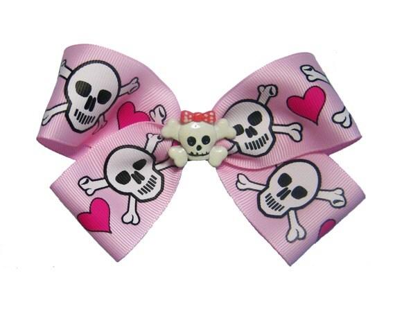 Large Pink Punk Skull Crossbones Heart Pirate Hair Bow
