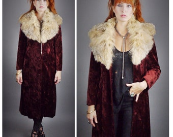 70s // Crushed Crimson Velvet Mid Length Coat // Fox Fur Collar