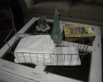 Charming Vintage Wire Basket - Bath Time Caddy -  Open Silver Metal Horizontal Lip Handles - Shabby Chic Deep & Long