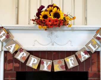 Fall decorations - happy fall banner - thanksgiving decor - fall mantle decoration - harvest decoration