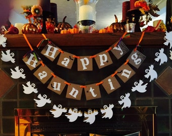 Halloween Party Decorations / Happy Haunting Banner / Halloween Garland / Halloween Party Decor / Halloween Photo Prop / Vintage Inspired