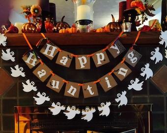 Halloween Decorations / Happy Haunting Banner / Halloween Garland / Halloween Party Decor / Halloween Photo Prop / Vintage Inspired