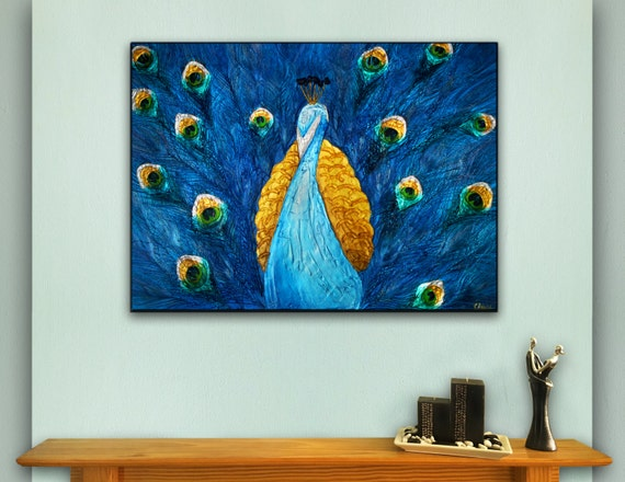 Iridescent Peacock art. Textured acrylic painting, metallic blue, green, gold, featuring real peacock feathers. 18x24