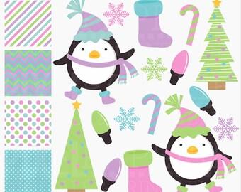 penguin christmas clipart clip art digital tree snowflake candy cane lights stocking - Christmas Penguins Digital Clipart and Digital Papers
