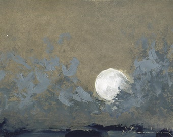 A Moon and Its Star — Original Oil Painting, Landscape Painting, Abstract Landscape, Original Painting, Abstract Oil Painting, 5 x 7