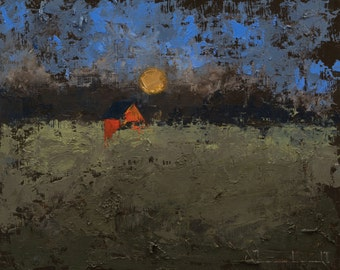 Original Oil Painting Abstract Landscape Painting on a Cradled Panel by John Shanabrook - 8 5/8 x 10 5/8 - Night Here