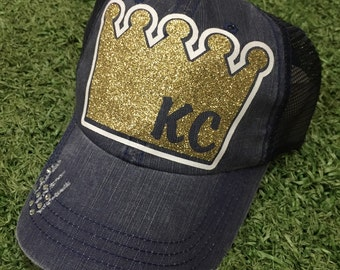 KC Kansas City Royals Crown Baseball Bling Ladies Womens Trucker Hat