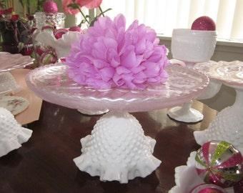 milk glass Pink plate Decorative Pedestal Dessert Stand Cake Stand/pink/milk glass/hobnail/bridal/baby/Dessert/Tea/Made to Order