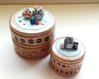 Round Totoro Wooden Ring / Pill / Gift Box - Winter series, with soots and firends