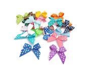 Ribbon bows polka dot grosgrain ribbon spotty handmade bow hair clippies haberdashery