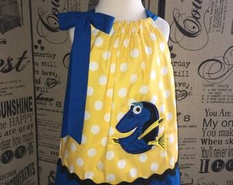 Finding Dory Dress, Dory Girl Dress, Dory Birthday Party, Finding Dory Toddler, Dress Dory Pillowcase Dress, Fish Dress, Infant Baby Dress
