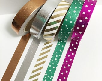 Set of 5 Metallic Foil Polka Dot Solid and Striped Skinny Washi Tape 11 yards 10 meters 10mm Hot Pink Green Gold Silver Rose Gold