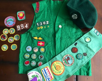 Vintage Girl Scout Collection Badges, Beret, Sash and Vest 1960s and 1970s Vintage Ephemera