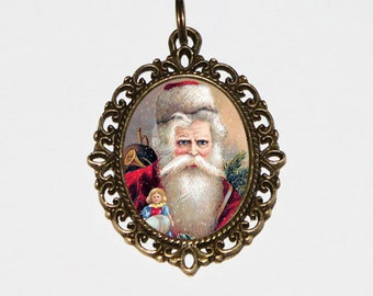Santa Necklace, Christmas Jewelry, Toy Doll, Santa Claus, Bronze Oval Pendant