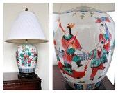 Chinese Table Lamp, Famille Verte Pottery Lamp, Kangxi Enamel, Asian Ceramics, Ginger Jar Mounted Table Lamp, Urn Ruyi, Lighting