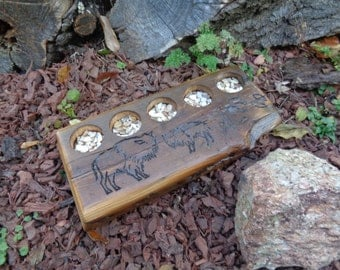 Reclaimed barnwood Beam Candle Holder for 5 tea lights with Buffalo carving