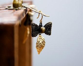 Leaf Bow Earrings Antiqued Bronze Bow Dangle Earrings Leaf Earrings Christmas Gift - E289