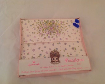 "Unopened Vintage Hallmark ""Petite Fleur"" Postalettes Fold-up Note Cards with Stickers Boxed"