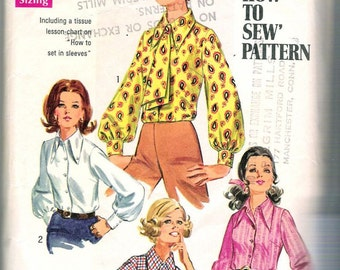 """Simplicity 8299 Vintage 1969 Sewing Pattern Misses Blouse and Ascot """"How to Sew Pattern"""" Tissue Lesson on Setting Sleeve, Size 8, Bust 31.5"""