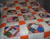 hand stitched patchwork quilt fall colors bedspread blanket pumpkin orange, 82 x66..Reduced..WAS 22.99