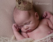 Newborn Baby Crown, Hand Painted Gold Lace Crown, Newborn Photography Prop, Baby Crown, Lace Crown, Boy, Girl,  Prince