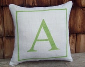 Custom Initial Pillow, Decorative Burlap Pillow, Monogram Pillow, Letter Pillow, More Colors and Sizes Available, Initial Decor, Gift Pillow