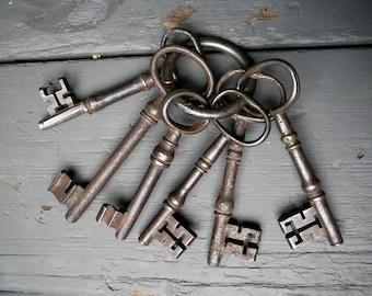 Six Antique Cast Iron Skeleton Keys on a Ring