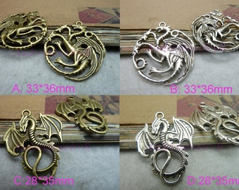 10pcs  Antique Bronze /antiqued silver Plated Dragon Charms Pendant Necklace pendants, Jewelry pendants,Bracelets Fittings