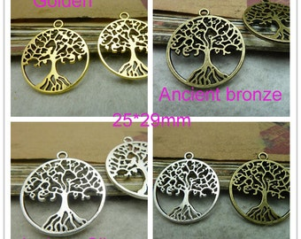"20pcs 25x29mm Ancient silver  Filigree Tree ""tree of Life""Charm Pendant"