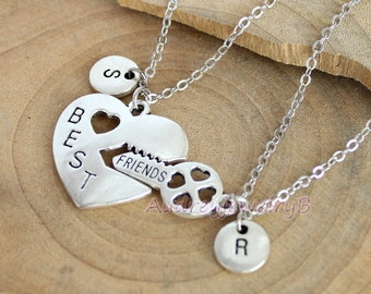 Gifts for best friends etsy personalized initial necklace best friend heart necklace setboyfriend girlfriend gift christmas gifts negle Images
