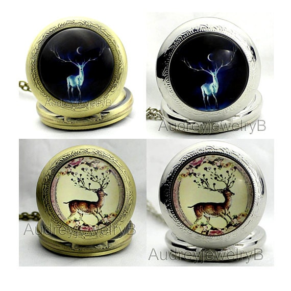 1pcs Deer  Watch Pendant with chain  pocket watch Bridesmaid Christmas gifts friends children's gifts Thanksgiving Valentine's Day
