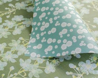 Cherry Blossom gift wrap - sage & blue