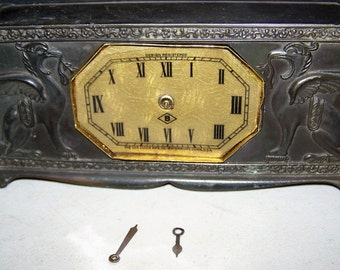 Vintage 1920's Lux Metal Windup Griffin Mantle/Shelf Clock