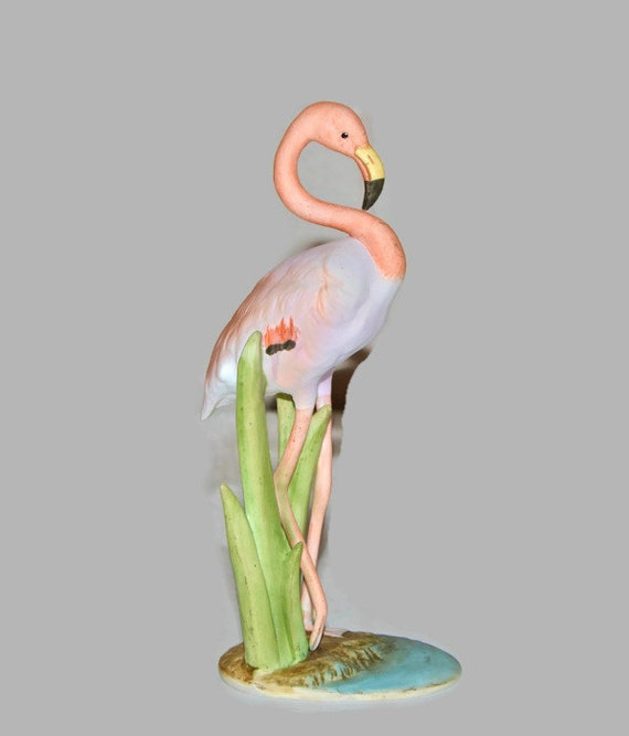 Pink Flamingo Porcelain Figurine Andrea By Sadek 1985 Vintage