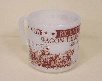 Mug Bicentennial Wagon Train Pilgrimage to Pennsylvania  1776 1976 White Red Federal Cup