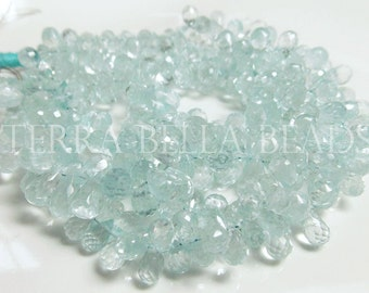 "3.5"" half strand AAA AQUAMARINE faceted gem stone teardrop briolette beads 7mm - 10mm aqua blue"