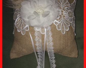 PILLOW  Burlap Lace Rustic Bridal Ring Bearer Feather Decor