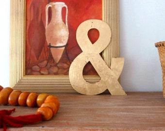 Large gilded wooden letter - Ampersand - golden letter - gilding - letter &  - shabby chic - wedding letter - Alphabet letter