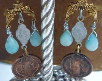 ROYAL ROSARY vintage assemblage antique Victorian earrings