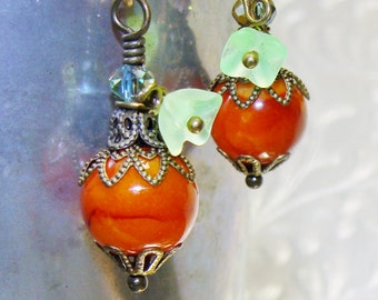 Fall Autumn orange pumpkin bead drop dangles diy jewelry making pamelia designs