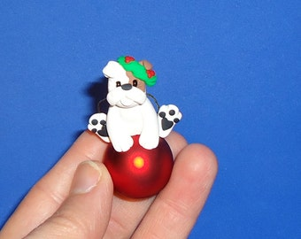 Polymer Clay Bulldog on Red Glass Ball Ornament