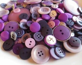 Buttons Purple Assortment Amethyst Lilac Lavender Violet Mix 200 pcs