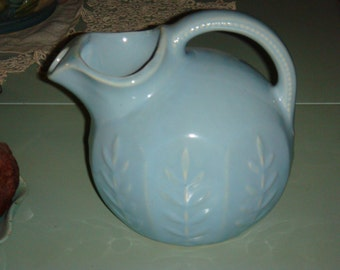 Vintage USA Baby Blue Ball Pitcher Wheat Design