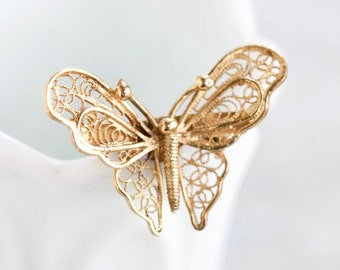 Filigree Butterfly Lapel Pin - Sterling Silver Brooch with Gold Bath - Vintage Jewelry