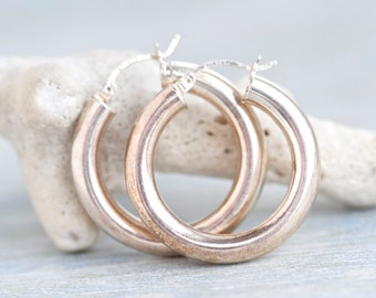 Hoop Earrings Sterling Silver - 1.2 inch
