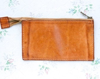 Camel Leather Coin Purse - Vintage Classic Change Wallet