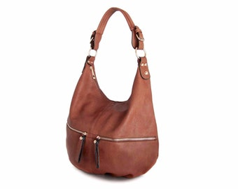 Leather Tote Hobo  Bag Handbag in Vegan Leather Tanned Handmade  -  the Tangy - sale with coupon code TRACBAG30OFF345