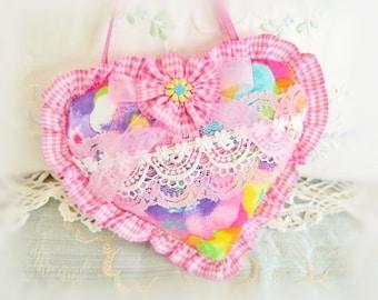 Sachet Heart Ornament / 6 inch / Ruffled Heart Sachet /  Pink Aqua Lavender Heart, Folk Art, Handmade CharlotteStyle Decorative Folk Art
