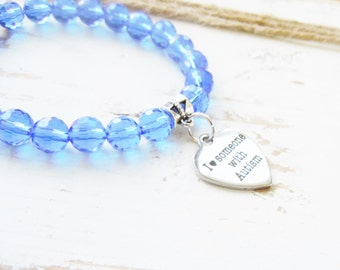 Autism Awareness Stretch Bracelet Blue Czech Glass