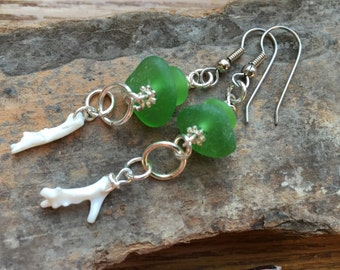Green Sea Glass, White Coral Earrings, Green Sea Glass and Coral Dangles, Silver Earrings, Beach Style Handmade by GlassLynx